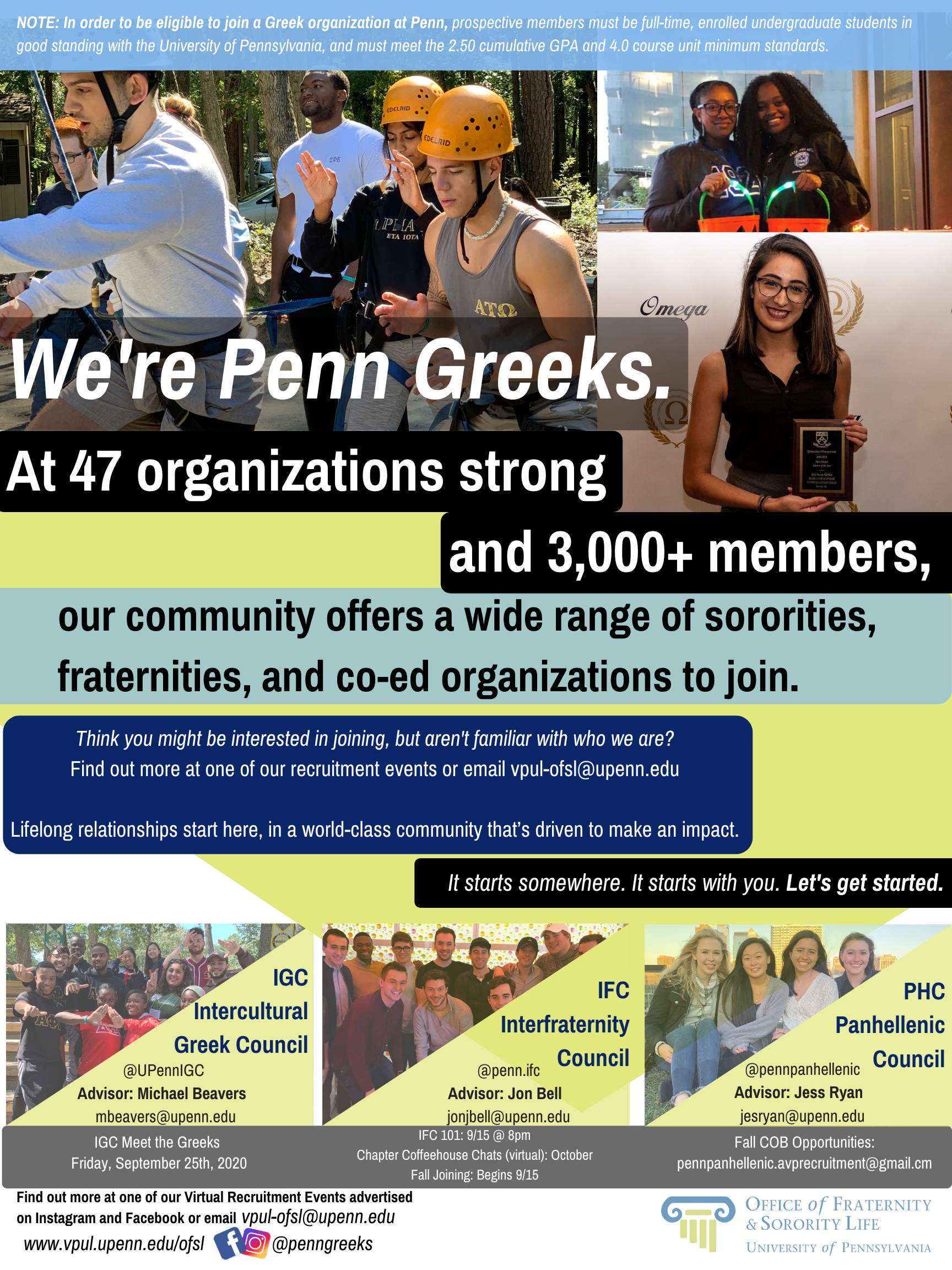 We're Penn Greeks. Information graphic containing the content located on this page.